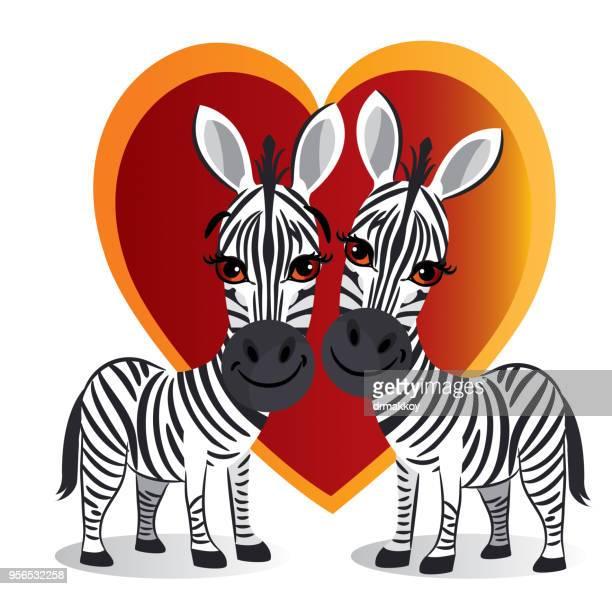 ilustraciones, imágenes clip art, dibujos animados e iconos de stock de amor de cebras - camaleón