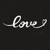 Love. Original custom hand lettering - Illustration.