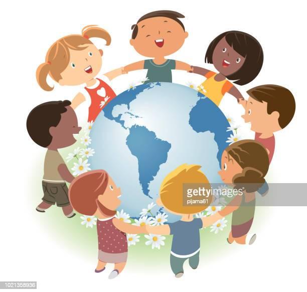 ilustraciones, imágenes clip art, dibujos animados e iconos de stock de amar a nuestra tierra. diversos niños aman y protegen al mundo. - agarrados de la mano