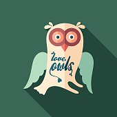 Love owls flat square icon with long shadows.