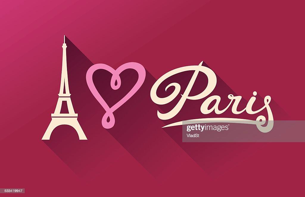 I Love Paris - Eiffel Tower calligraphy card