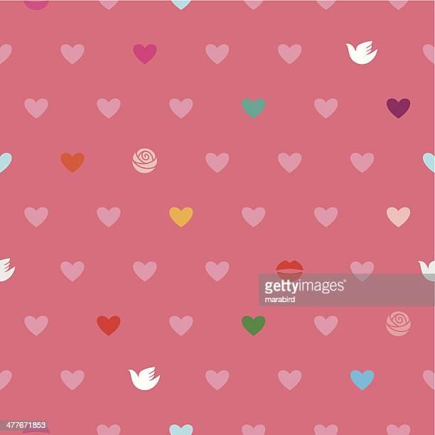 love pattern - lipstick kiss stock illustrations, clip art, cartoons, & icons