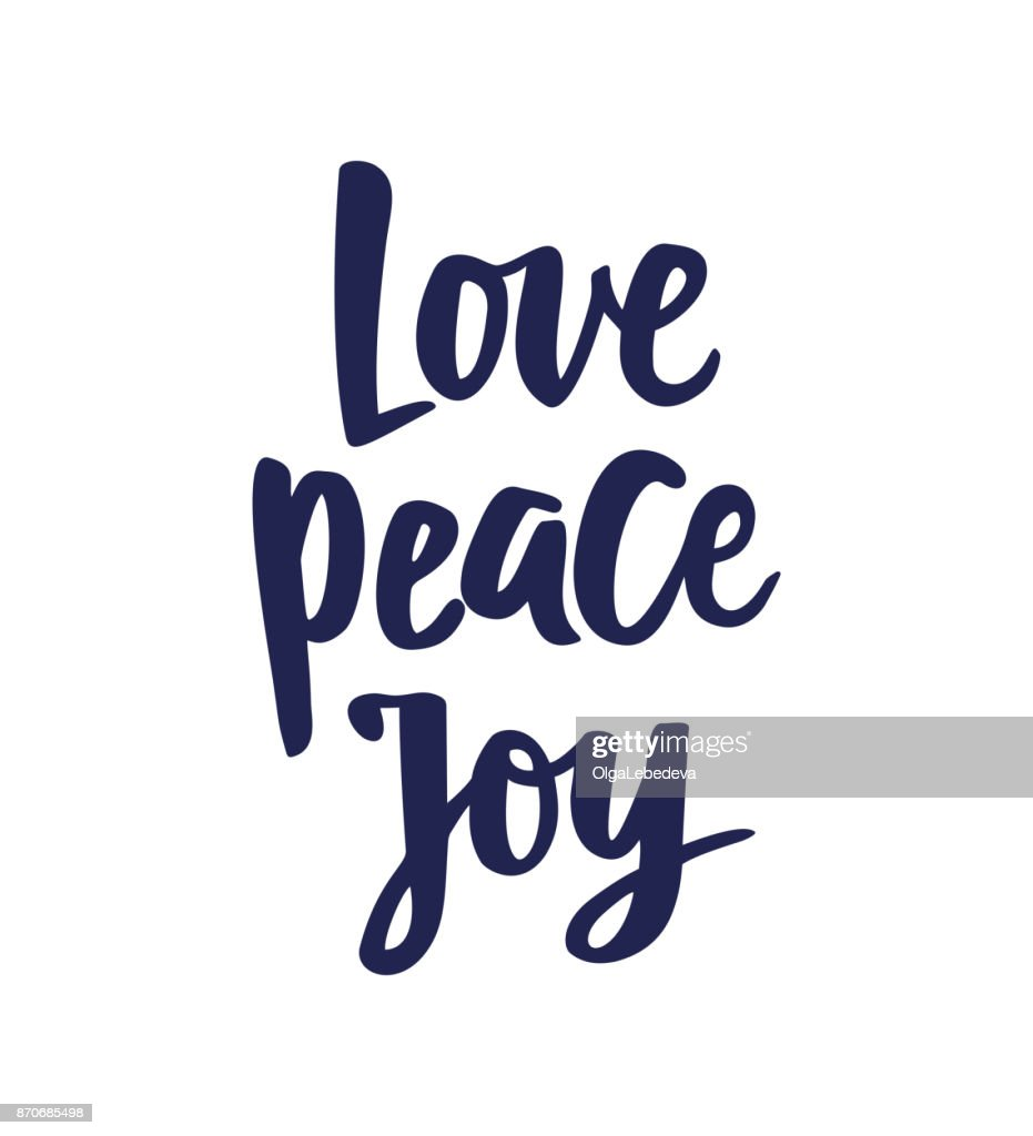 Love Peace Joy text, hand drawn brush lettering. Holiday greetings quote isolated on white. Great for Christmas gift tags and labels