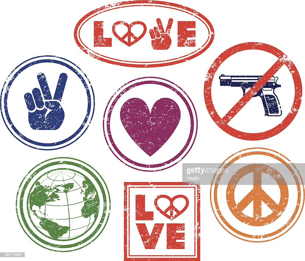Love, peace, no guns - rubber stamps : Stock Illustration