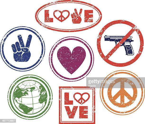 love, peace, no guns - rubber stamps - symbols of peace stock illustrations