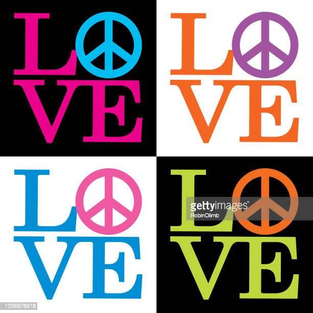 ilustraciones, imágenes clip art, dibujos animados e iconos de stock de iconos de signos de paz de amor - 1960 1969