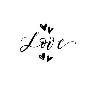 Love phrase with hearts.