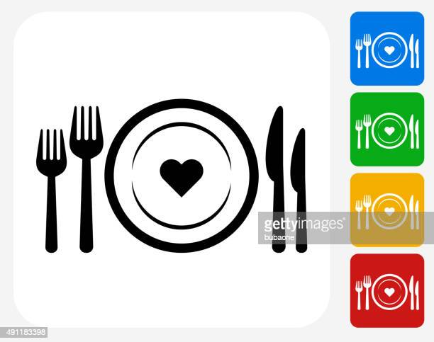 Love Plate Icon Flat Graphic Design