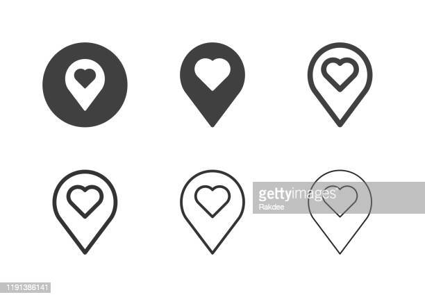 love position icons - multi series - straight pin stock illustrations