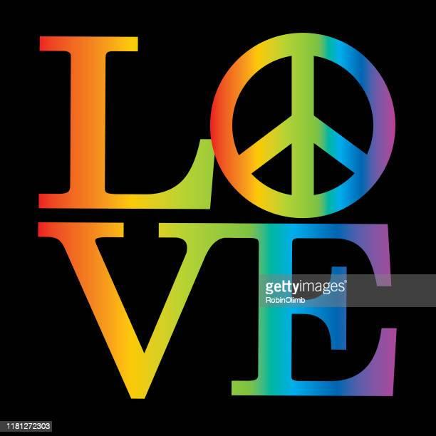 love rainbow peace sign icon - 1969 stock illustrations