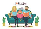 I love reading. Family reads books.