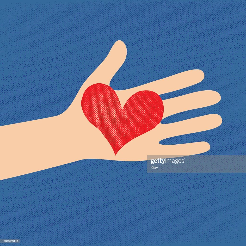love red heart in hand to woman