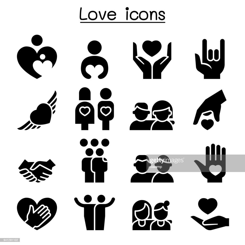 Love, Relationship, Friend, Family icon set