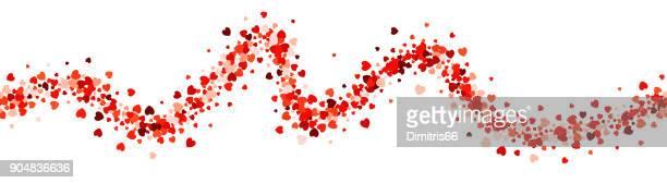Latido del corazón - el amor en forma de corazón manchado loopable línea ondulada