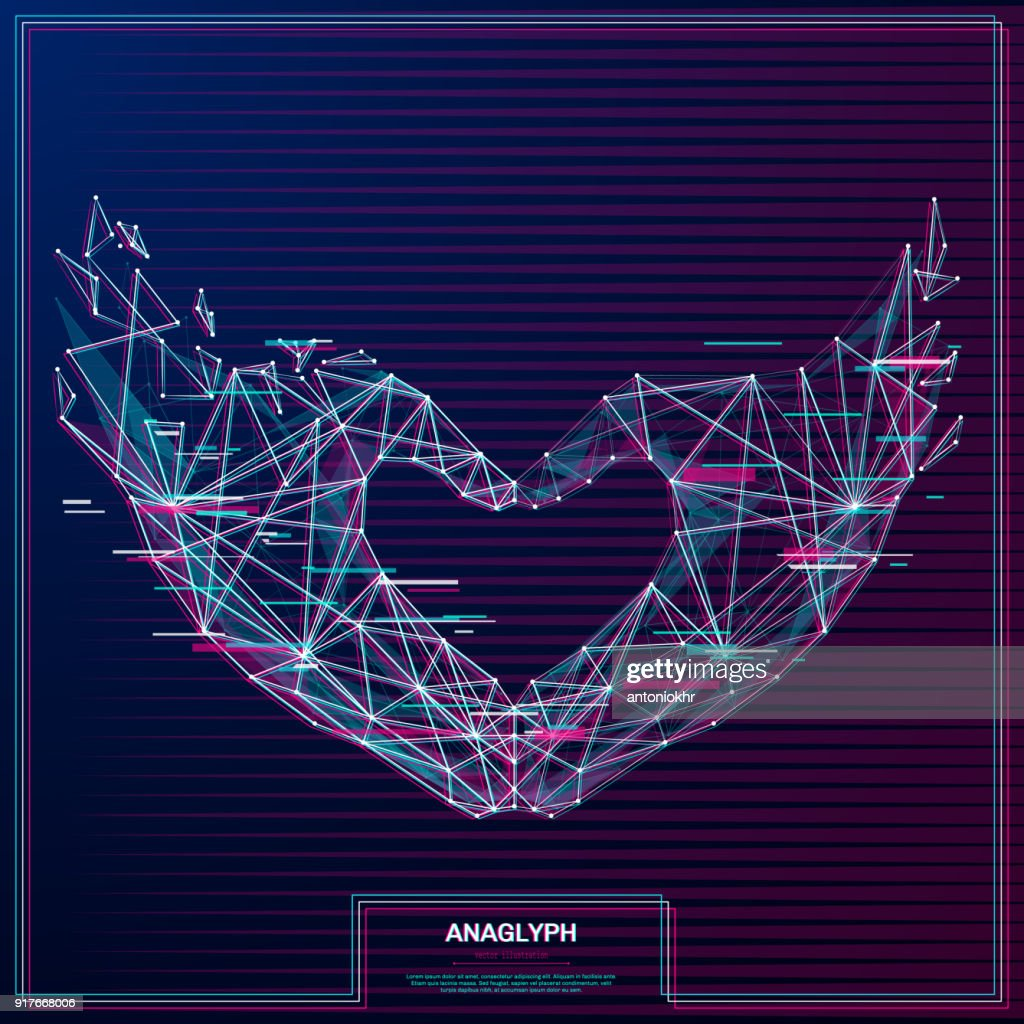 Love shape hands low poly anaglyph