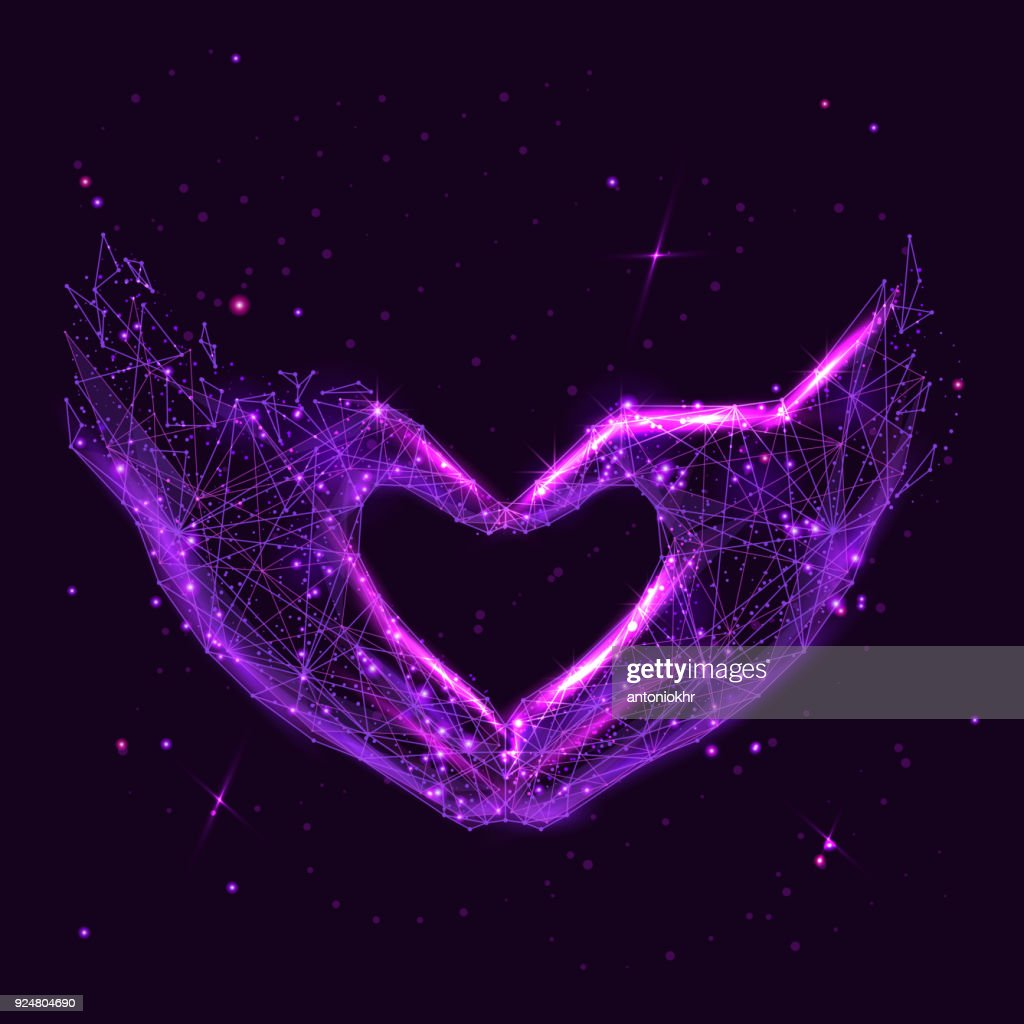 Love shape hands low poly neon purple space