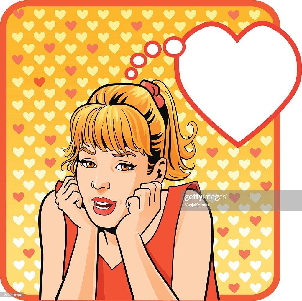 Love Struck Teenage Girl With Speech Bubble