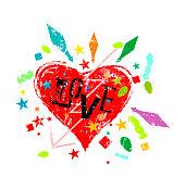 love symbol grunge style vector illustartion