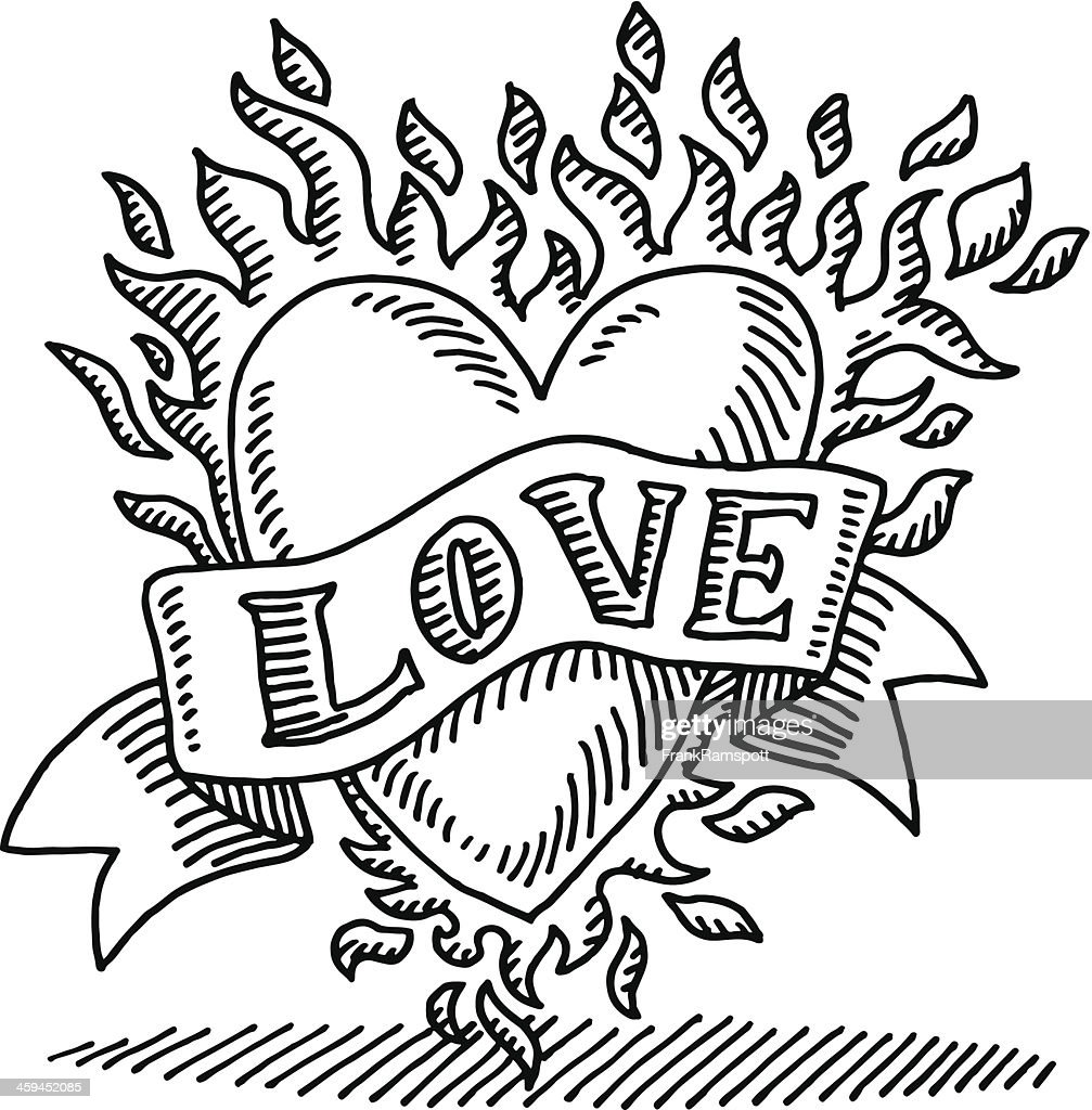 Love Tattoo Burning Heart Drawing High-Res Vector Graphic ...