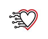 Love Technology Symbol Template Design Vector, Emblem, Design Concept, Creative Symbol, Icon