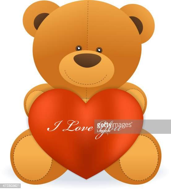 love teddy bear - i love you stock illustrations
