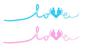 ''Love'' text with baby foot print