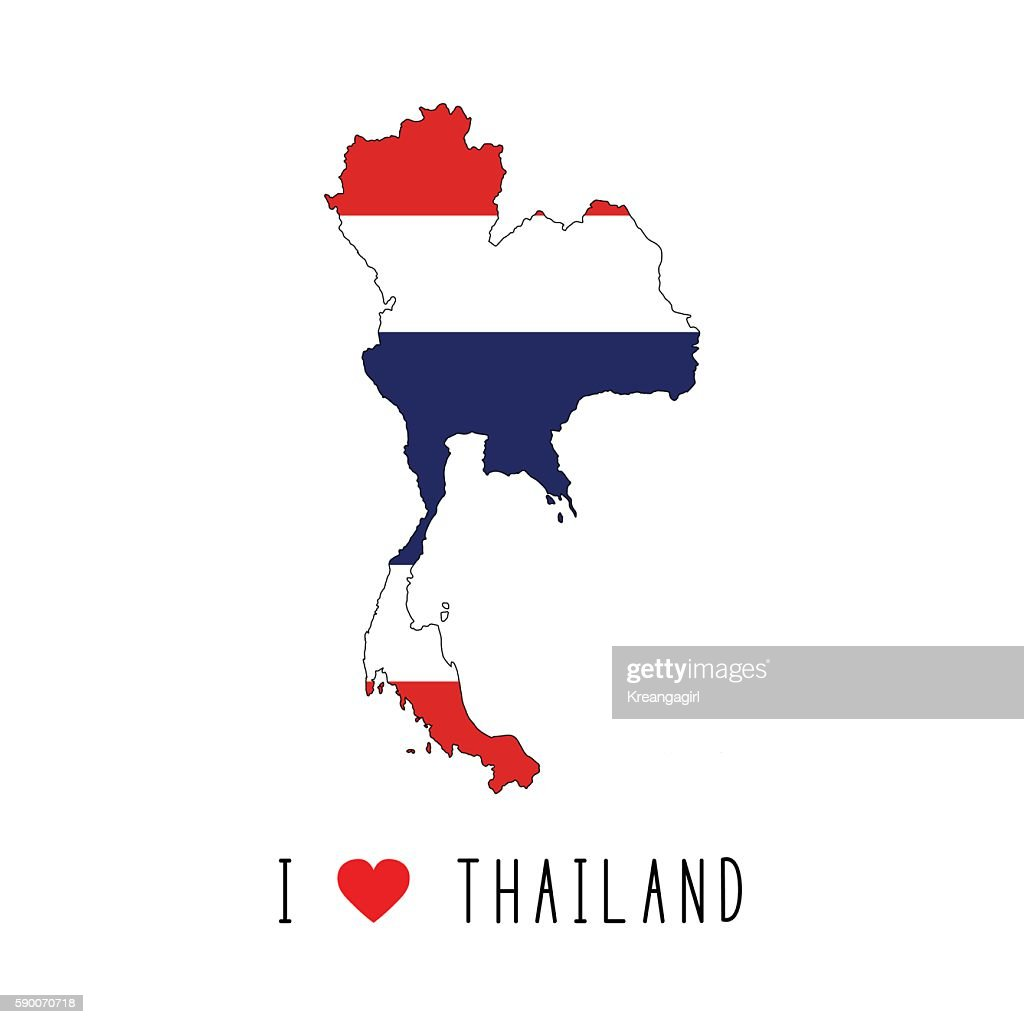 I love Thailand text and Thailand flag on map