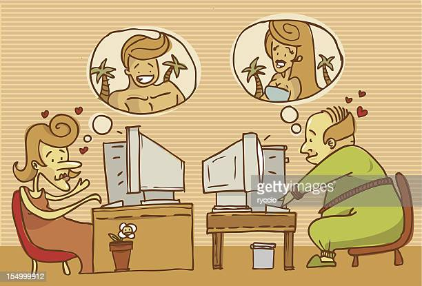 love through the web - ugly bald man stock illustrations