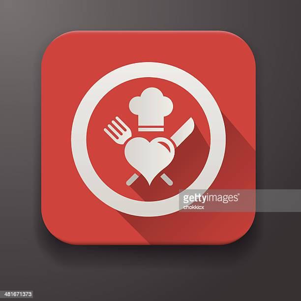 ilustraciones, imágenes clip art, dibujos animados e iconos de stock de les encanta cocinar chef icono de diseño plano - gorro de chef