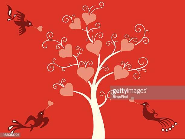 love tree & birds delight - animal heart stock illustrations, clip art, cartoons, & icons