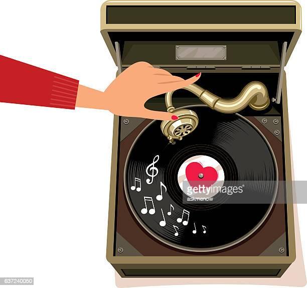 ilustraciones, imágenes clip art, dibujos animados e iconos de stock de love tunes - mujer escuchando musica