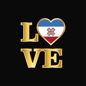 Love typography Mari-El flag design vector Gold lettering