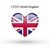 Love United Kingdom symbol. Flag Heart Glossy icon.