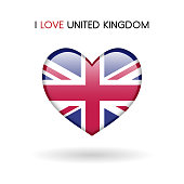 Love United Kingdom symbol. Flag Heart Glossy icon