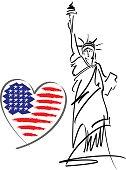 I love USA vector