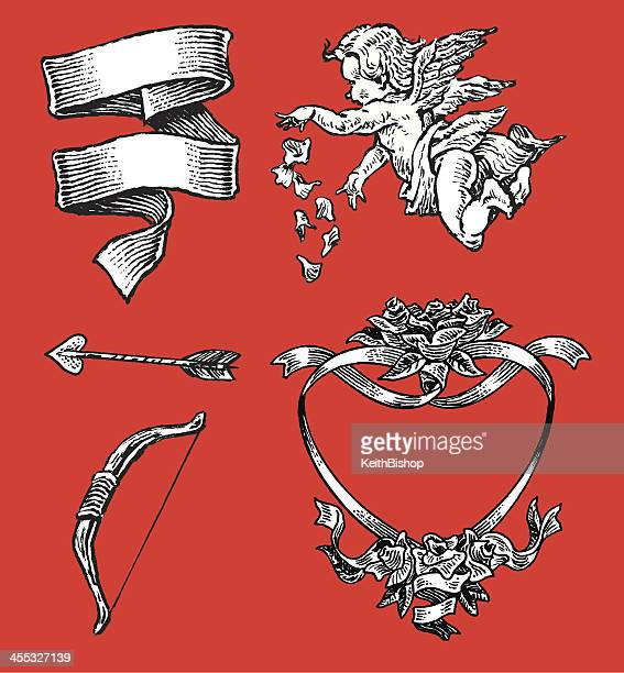love - valentines cherub, arrow, heart of roses, ribbon - cupid stock illustrations