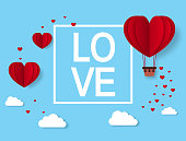 Love. Valentines day greeting card with paper cut Hearts. Heart hot air balloon. Vector