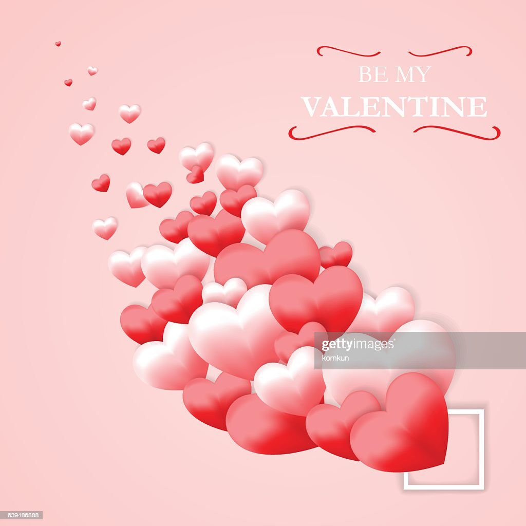 Love Valentines Day Pink Background Wallpaper Card Vector Art