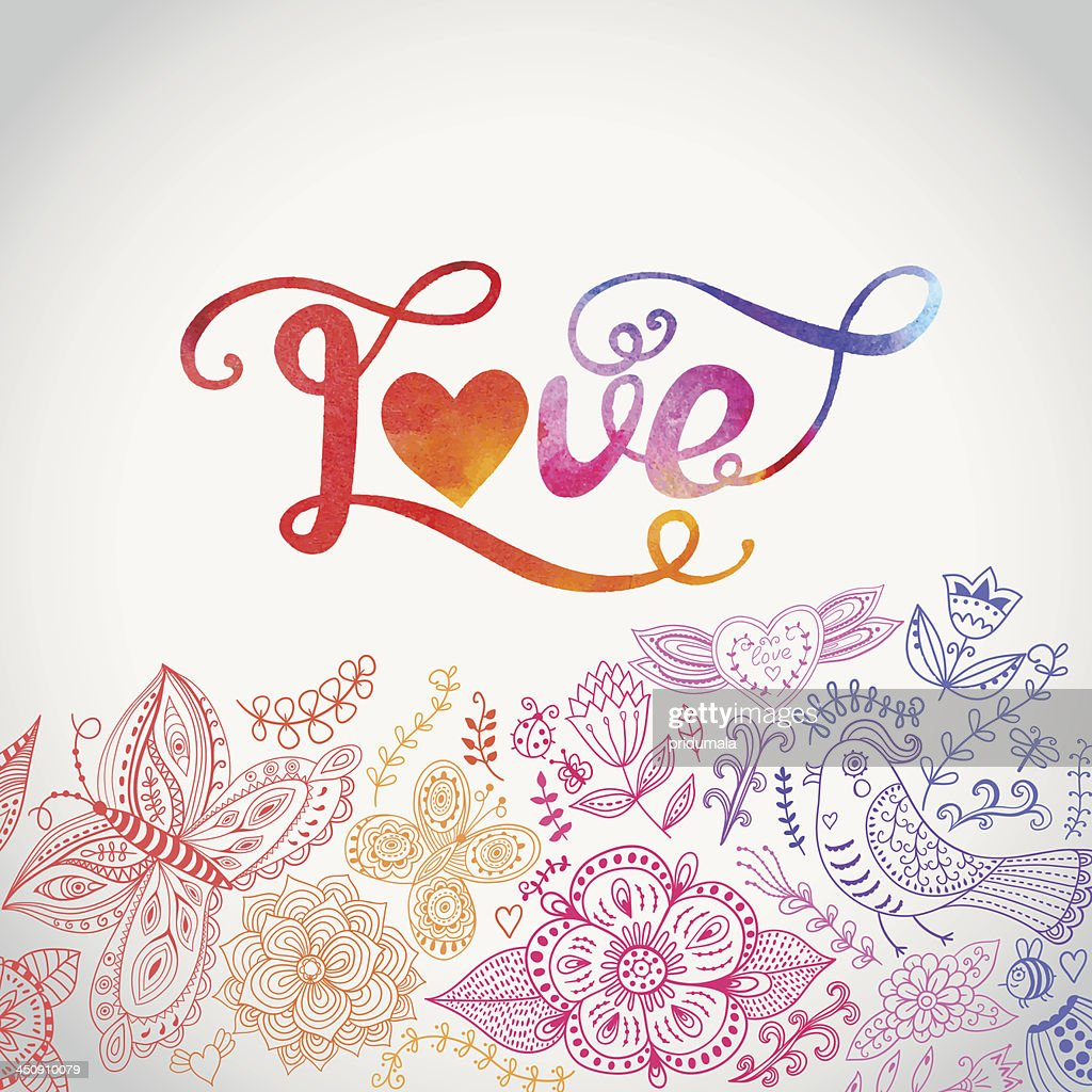 'Love' vector watercolor lettering.