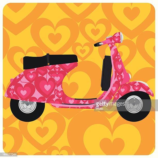 love vespa. hippie heart psychedelic scooter pop art - vespa stock illustrations, clip art, cartoons, & icons