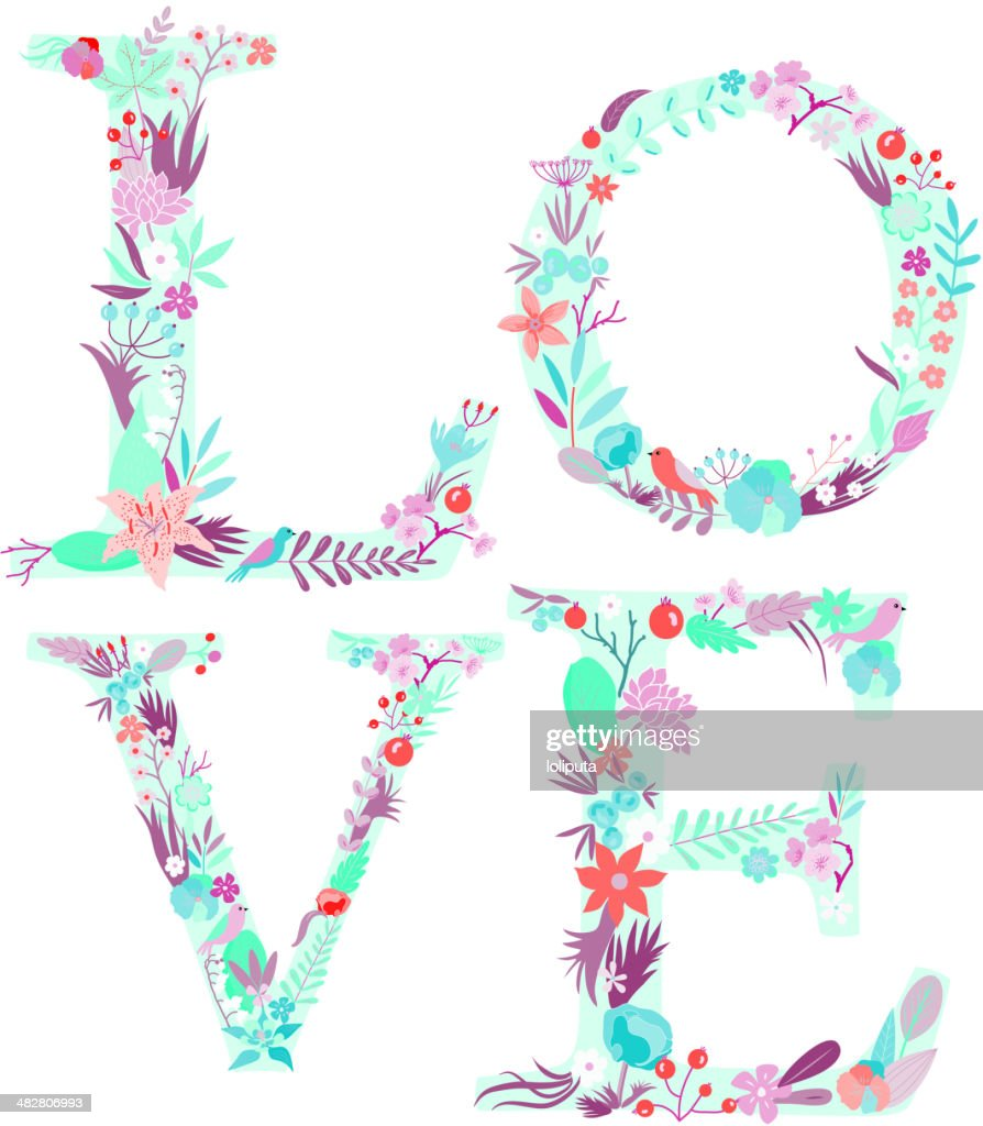 Love. Word of flowers. Vector lettering stylish text