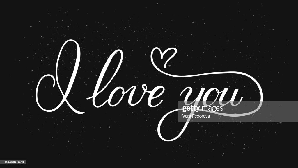 I love you calligraphy hand lettering with heart on black background. Valentines day greeting card. Romantic typography poster. Vector illustration.