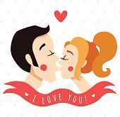 I love you card with kissing couple