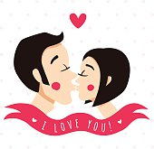 I love you card with kissing couple (brunettes)