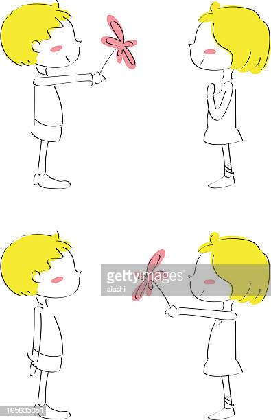 i love you, cute boy giving flower to girl - boyfriend stock illustrations, clip art, cartoons, & icons