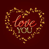 Love You golden and gradient luminous lettering text in stellar stream in heart form. Happy Valentines Day greeting card design.