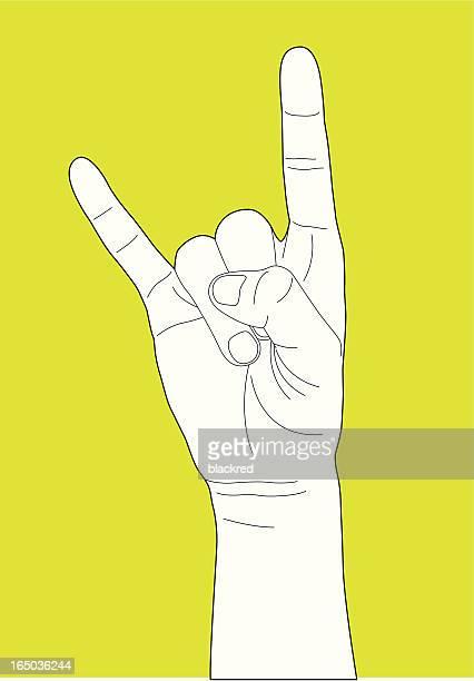 illustrazioni stock, clip art, cartoni animati e icone di tendenza di ti amo gesto - musicista di musica pop