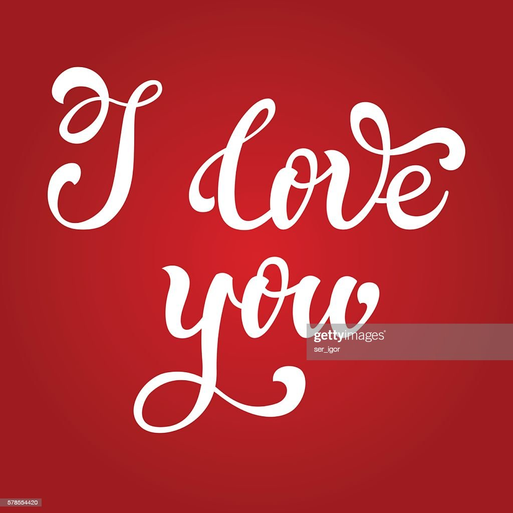 I Love You Hand Lettering Greeting Card Happy Valentines Day Vector