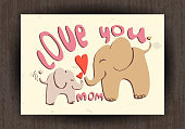 Love you mom, greetings card with animals. Mothers day