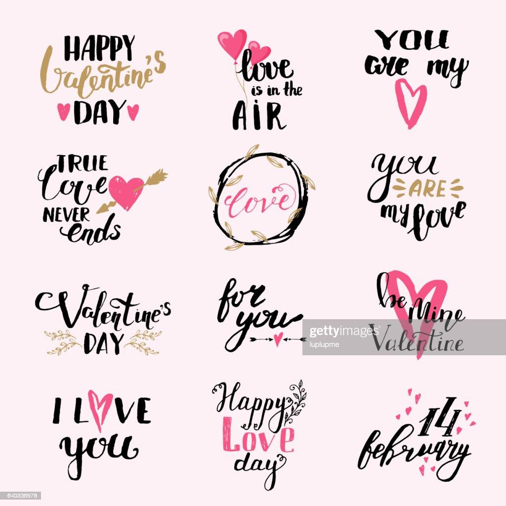 I love You phrases Valentine Day print design vector set.